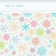 Colorful Doodle Snowflakes Horizontal Torn Frame Seamless Pattern Background — Stock Vector