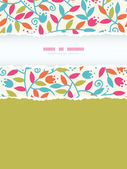 Colorful Branches Vertical Torn Frame Seamless Pattern Background — Stock Vector