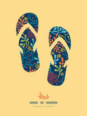 Dark plants flip flops decor pattern background — Vecteur