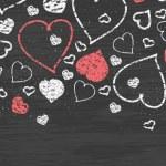 Chalkboard art hearts horizontal border seamless pattern background — Stock Vector #37763729