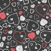 Chalkboard art hearts seamless pattern background — Stock Vector