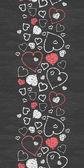 Chalkboard art hearts vertical border seamless pattern background — Stock Vector