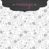 Chalkboard art hearts frame seamless pattern background — Stock Vector