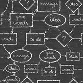 Chalk blackboard mind map seamless pattern background — Stock Vector