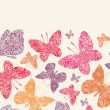 Floral butterflies horizontal seamless pattern background — Stock Vector