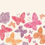 Floral butterflies horizontal seamless pattern background — Stock Vector