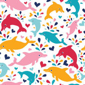 весело красочные дельфинов бесшовный фон фон — Cтоковый вектор