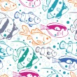 Colorful fish vector seamless pattern background — Stock Vector