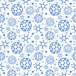 Blue molecules texture seamless pattern background — Stock Vector