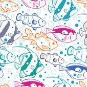 Colorful fish vector seamless pattern background — Stok Vektör