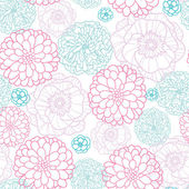 Pink Blue Flowers Lineart Seamless Pattern Background — Stock Vector