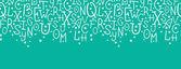 White on green alphabet letters horizontal seamless pattern background — Stock Vector