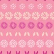 Pink abstract flowers stripes seamless pattern background — Stock Vector #40316757