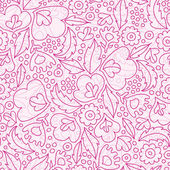 Pink flowers lineart seamless pattern background — Stock Vector