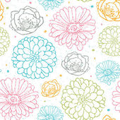 Chalk flowers colorful seamless pattern background — Stock Vector