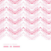 Pink lineart leaves chevron horizontal frame seamless pattern background — Stock Vector