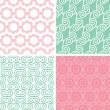 Four pastel abstract swirl motives seamless patterns set — Stock Vector #41054311