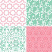 Four pastel abstract swirl motives seamless patterns set — Stock Vector