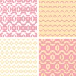 Four tribal pink and yellow abstract geometric patterns backgrounds — Stock Vector #41515345