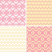 Four tribal pink and yellow abstract geometric patterns backgrounds — Stockvektor