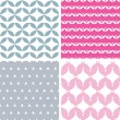 Four wavy pink and gray abstract geometric patterns backgrounds — Stock Vector