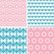 Four abstract pink blue folk motives seamless patterns set — 图库矢量图片
