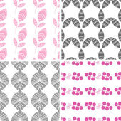 Four abstract pink gray textured leaves seamless pattern background set — Stock Vector
