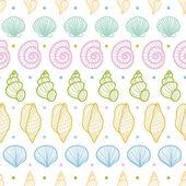 Schelpen strepen lijn kunst naadloze patroon achtergrond — Stockvector