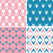 Four abstract pink blue arrows geometric pink seamless patterns set — Stock Vector