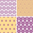 Four abstract purple and gold oriental motives seamless patterns set — Stok Vektör