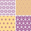 Four abstract purple and gold oriental motives seamless patterns set — Stock Vector