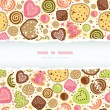 Colorful cookies horizontal torn frame seamless pattern background — Stock Vector #43006773
