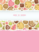 Colorful cookies vertical torn frame seamless pattern background — Vettoriale Stock