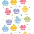 Colorful cupcake party vertical seamless pattern background — Stock Vector