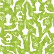 Green yoga poses seamless pattern background — Stock Vector