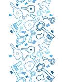 Keys line art vertical seamless pattern background border — Stock Vector