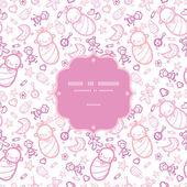 Baby girls frame seamless pattern background — Stock Vector