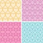 Four matching heart motives seamless patterns background set — Stock Vector #44448987