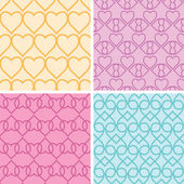 Four matching heart motives seamless patterns background set — Stock Vector