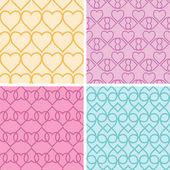 Four matching heart motives seamless patterns background set — Stock Vector