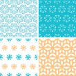 Four abstract blue yellow floral shapes seamless patterns set — Stock Vector