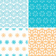 Four abstract blue yellow floral shapes seamless patterns set — Stock Vector #44842899