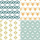 Four abstract arrow shapes seamless patterns set — Stock Vector