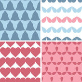 Four matching bold shapes seamless patterns background set — Stock Vector