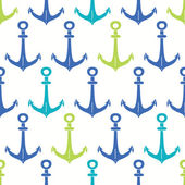 Anchors blue and green seamless pattern backgound — Stock Vector