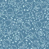 Gray doodle robots seamless pattern background — Vector de stock