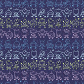 Doodle robots stripes seamless pattern background — Stok Vektör