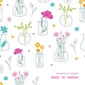 свежие цветы в вазах кадр угловой шаблон фона — Cтоковый вектор