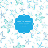 Starfish blue line art frame seamless pattern background — Stock Vector