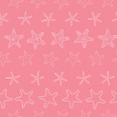 Starfish pink pastel stripe line art seamless pattern background — Stock Vector